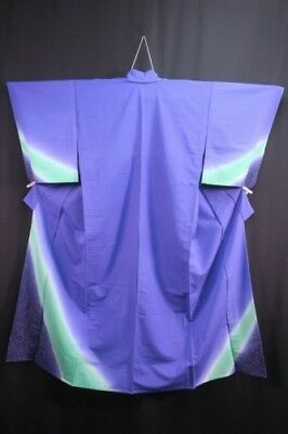 Pretty Vintage Japanese Ladies' Blue/Green/Red Polyester Kimono/Robe M/L Unlined
