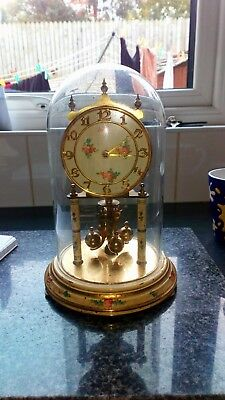 Vintage Kundo Clock For Parts Or Repairs with glass dome