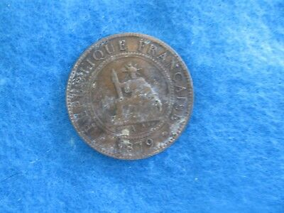 1879-A, French Cochin China,1 Cent, Bronze Coin,*Low Mintage/Rare