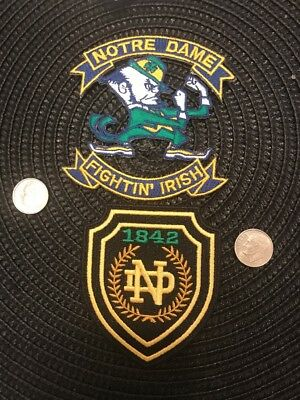 (2) Notre Dame Fighting Irish Vintage Embroidered Iron On Patches Patch Lot