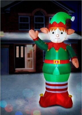 NEW Giant 6ft Inflatable Light-up Christmas Elf In/Outdoor Fun & Festive BOXED