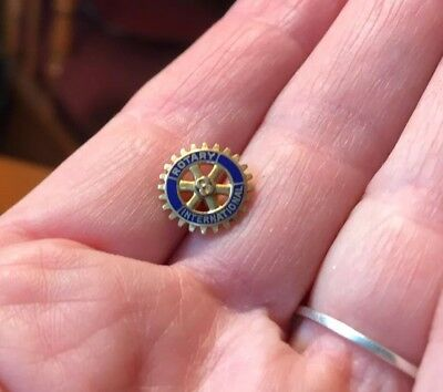 Rotary International 10k Gold Vintage Blue Enamel Tie Tack