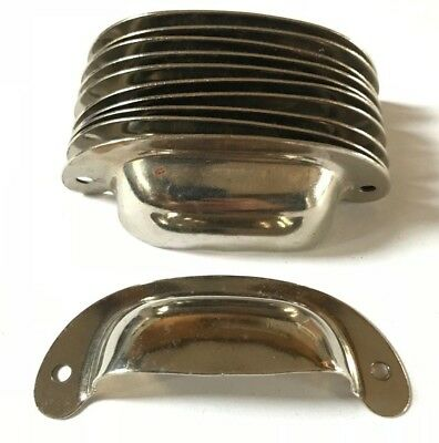 Vintage Chrome / Nickel Plated Steel Drawer Pull Bin Cup Finger Style