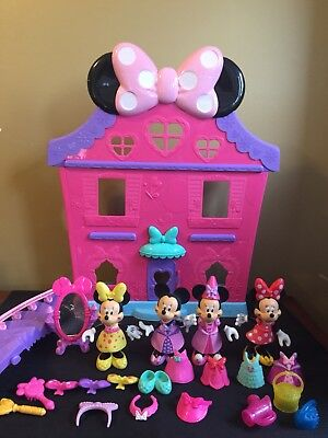 Disney Minnie Mouse Bow-tique Snap on Dress Up w/ Pink Mansion House 30+ Pieces!