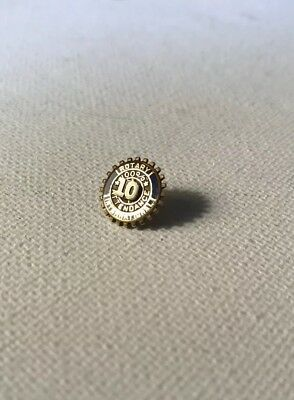Rotary International Vintage 10k Blue Enamel On Gold Tie Tack Pin