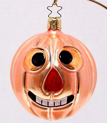 1985 Blown Glass GOOFY PUMPKIN Christmas Halloween ORNAMENT Star Top W Germany