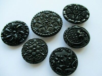 Beautiful Antique Vintage Pressed Black Glass Buttons Flowers Florals Fabric Eff