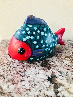 Handpainted Ceramic Fish Statue, Home Decor, Furnishings, Sculptures, House Gift