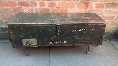 Ww2 Wooden Army Ammunition Box Crate Coffee Table. Hairpin Legs. Industrial