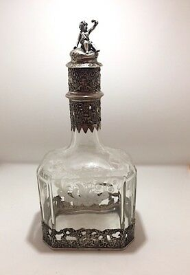 Antique Hanau Silver Mounted Etched Glass Decanter 1890 - 1900 Germany
