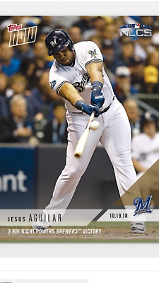 2018 Topps Now Nlcs Card Game #6 Card Brewers Jesus Aguilar #918 3 Rbi Night
