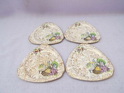 Vintage Lord Nelson Pompadour 4 Triangle Shaped Tea Plates Crinoline Lady