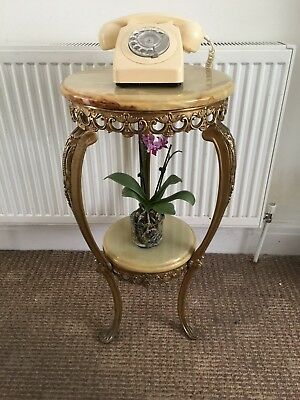 Vintage Antique French Ornate Brass & Marble Two Tier Plant Stand or Table