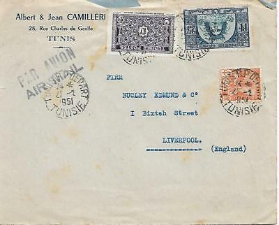 Tunisia 1951 Typed Cover With Various Stamps To Liverpool My Ref 1335