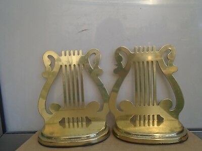 pair of unusual vintage brass HARP bookends   stylish late 20th century bookends