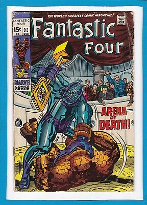 """Fantastic Four #93_December 1969_Very Good_""""arena Of Death""""_Silver Age Marvel!"""