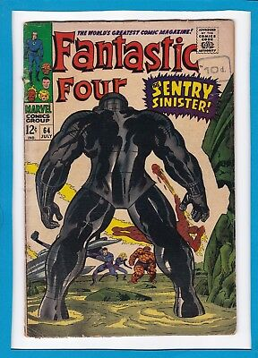 """Fantastic Four #64_July 1967_Good+_""""the Sentry Sinister""""_Silver Age Marvel!"""