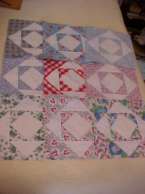 30 Vintage Hand Sewn Twelve Triangle or Shadow Boxes Quilt Blocks