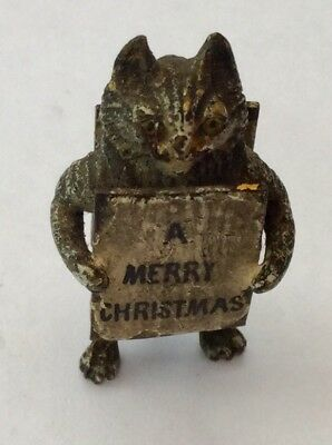 Vintage Austrian Cold Painted Bronze Xmas Cat With Sandwich Board