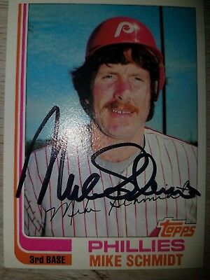 Mike Schmidt Signed Card Autographed Phillies