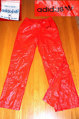 Vintage Adidas GLANTZ TREFOIL RED SUPER SHINY Track Pants zip ankles EC M men
