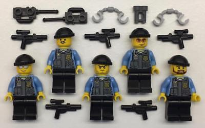 5 Lego Swat Team Minifigs Lot Police Figures Weapons Army Soldiers
