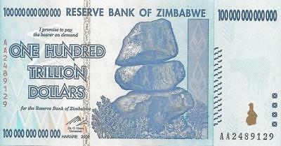 Zimbabwe 2008 100 Trillion Dollars Banknote Uncirculated