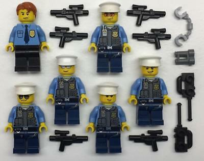 6 Lego Swat Team Minifigs Lot Police Figures Weapons Army Soldiers