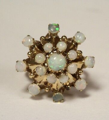 10k Yellow Gold opal womens cluster ring 4.6g estate vintage antique ladies