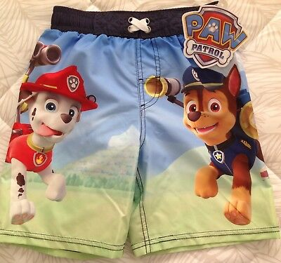 5c87bd9f2c Nickelodeon PAW PATROL Boy's Blue Swim Trunks Shorts UPF 50+ Size ...