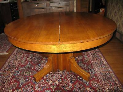 """Antique 54"""" Round Solid Oak Pedestal Table – Heavy Sturdy Sound Beautiful Wood"""