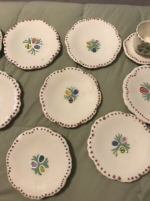 Lot Of Ceramic Miniature Plates With A Cup & Saucier. Easter Egg Motif