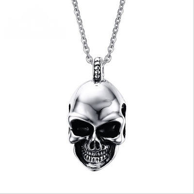 Fashion Mens Skull Head Design Pendant Stainless Steel Punk Rock Cool Necklace