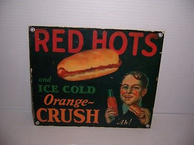 Vintage Red Hots and Ice Cold Orange Crush Heavy Duty Metal Advertising Sign