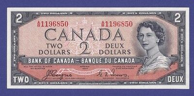 Devil's Face !! Gem Uncirculated 1 And 2 Dollars 1954 Banknotes From Canada !!!!