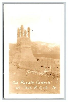 RPPC postcard Old Pueblo Church at Taos, N. Mex. 10.  NM real photo - light exp.