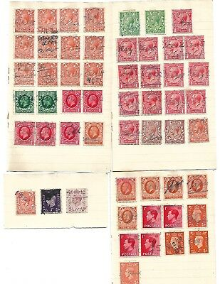 George's reign's - 39 used postage stamps 1920s - 30s mostly as signed documents