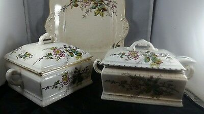 3 Piece VIntage Bridgwood and Sons Porcelain Opaque Tureen, Sauce dish and Plate