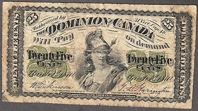 1870 Dominion of Canada - 25 Cents - Very Good - DC1c - AX17