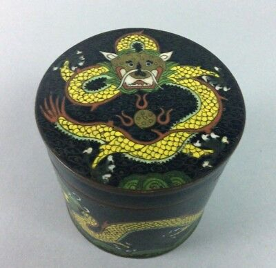 Antique Old Chinese Cloisonne Cylinder Dragon Tea Caddy.