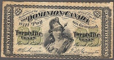 1870 Dominion of Canada - 25 Cents - Very Good - Letter B - AX19