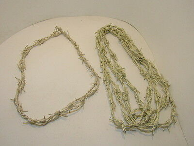 5 Leather barbed wire necklaces..... pearl colored...., 575  bracelet.....hat ba