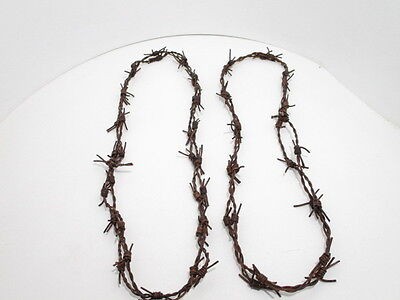 2 Leather barbed wire necklaces..... antique brown colored...., 275  bracelet...
