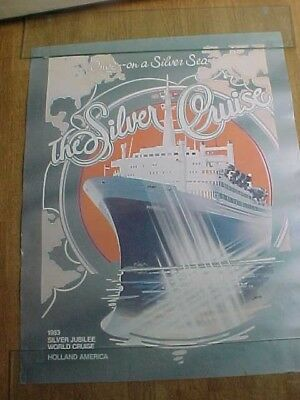 1983 Holland America World Cruise Silver Jubilee Travel Art Poster Signed