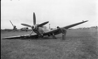 WW 2 - Original Photo Negatives -  Spitfire with Collapsed Gear on Airfield