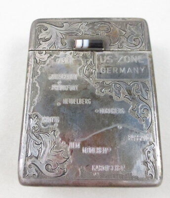 Vintage Us Zone Germany 835 Silver Engraved Cigarette Case