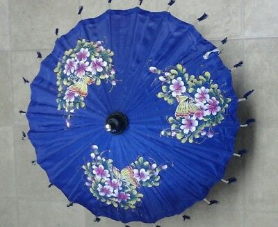 Vintage Hand Painted Umbrella Parasol made in Thailand, with stand