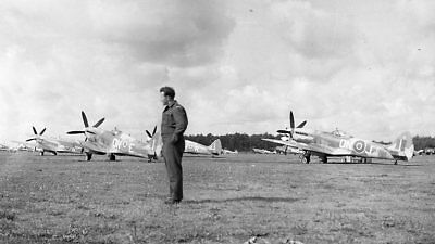 WW 2 - Original Photo Negatives -  RCAF 416 Squadron Spitfires on Airfield