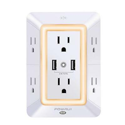 USB Wall Charger, Surge Protector, POWRUI 6-Outlet Extender with 2 USB Charging
