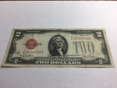1928 G Two Dollar $2 Bill Red Seal Note Currency (CC3996)